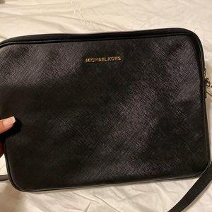 Michael Kors black leather laptop bag